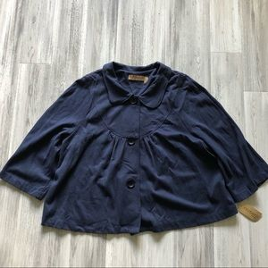 Notations Navy Button Up Top